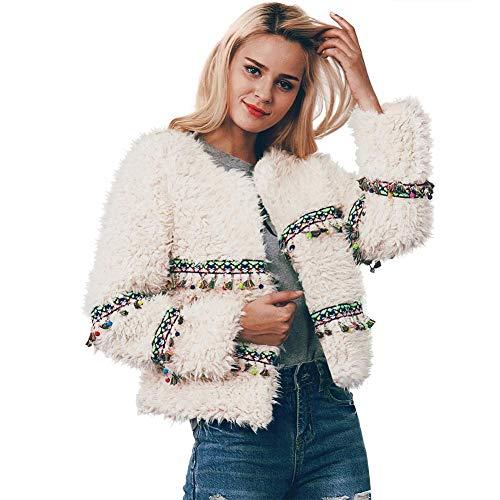 Manteau Femme Hiver - Coat Bohme Blanc Rose Ethnic Style Faux Fur Automne Manteaux  Manches Longues Dcor avec Suspendu Color Mignon Cadeau Nouvel an pour Femme/Fille White