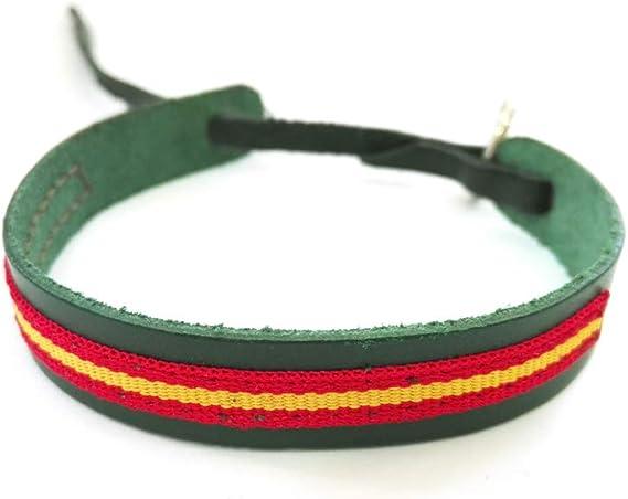 Pulsera de Piel Suave con Cinta Colores Bandera ESPAÑA ESPAÑOLA Ajustable (Verde): Amazon.es: Juguetes y juegos