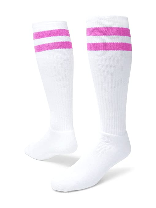 ad209179d88 Image Unavailable. Image not available for. Color  Red Lion Old School  Classic Two Stripe Athletic Socks ( White   Pale Pink ...