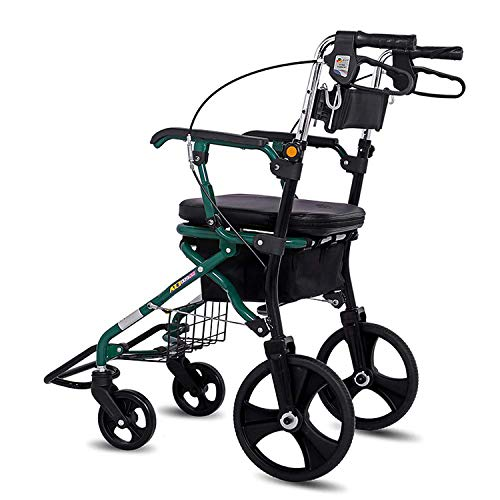 Dudolala Folding Rollator Wheelchair- 4 Wheel Medical Rolling Walker with Seat & Bag - Old Shopping Cart, Elderly Man Trolley, Four-Wheeled Bicycle, Travel Foldable Aluminum Alloy