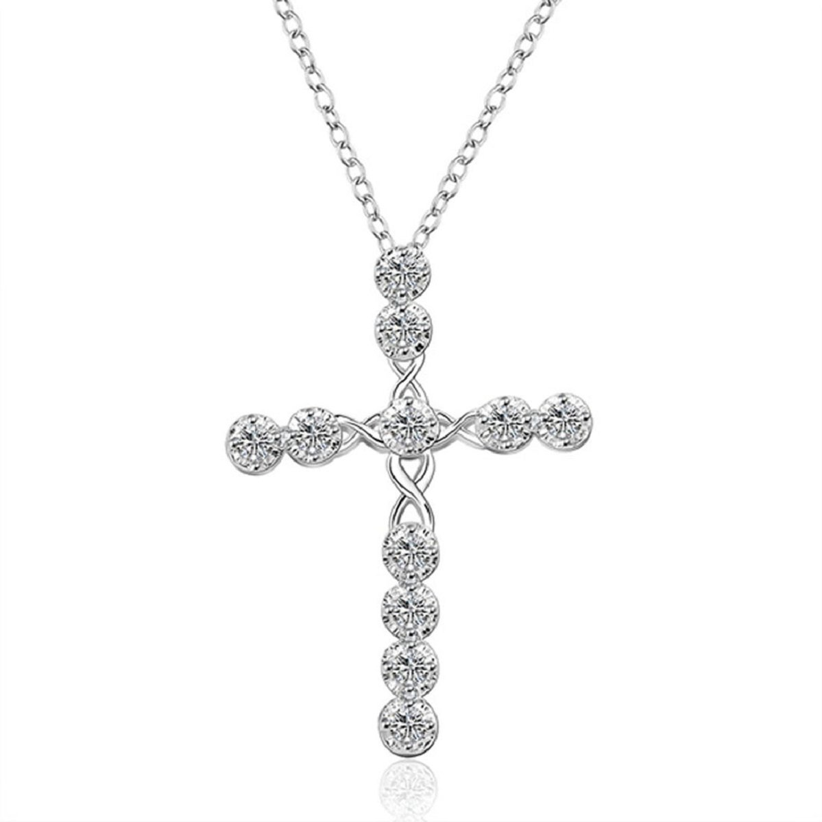 Yunchuang Luxury Silver Statement Chain Crystal Rhinestone Cross Necklace Women