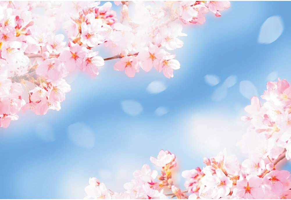 YEELE 15x10ft Spring Photography Backdrop Scenic Pink Blossom Background Nature Field Scenery Birthday Wedding Kids Girls Portrait YouTube Videos Photobooth Props Digital Wallpaper