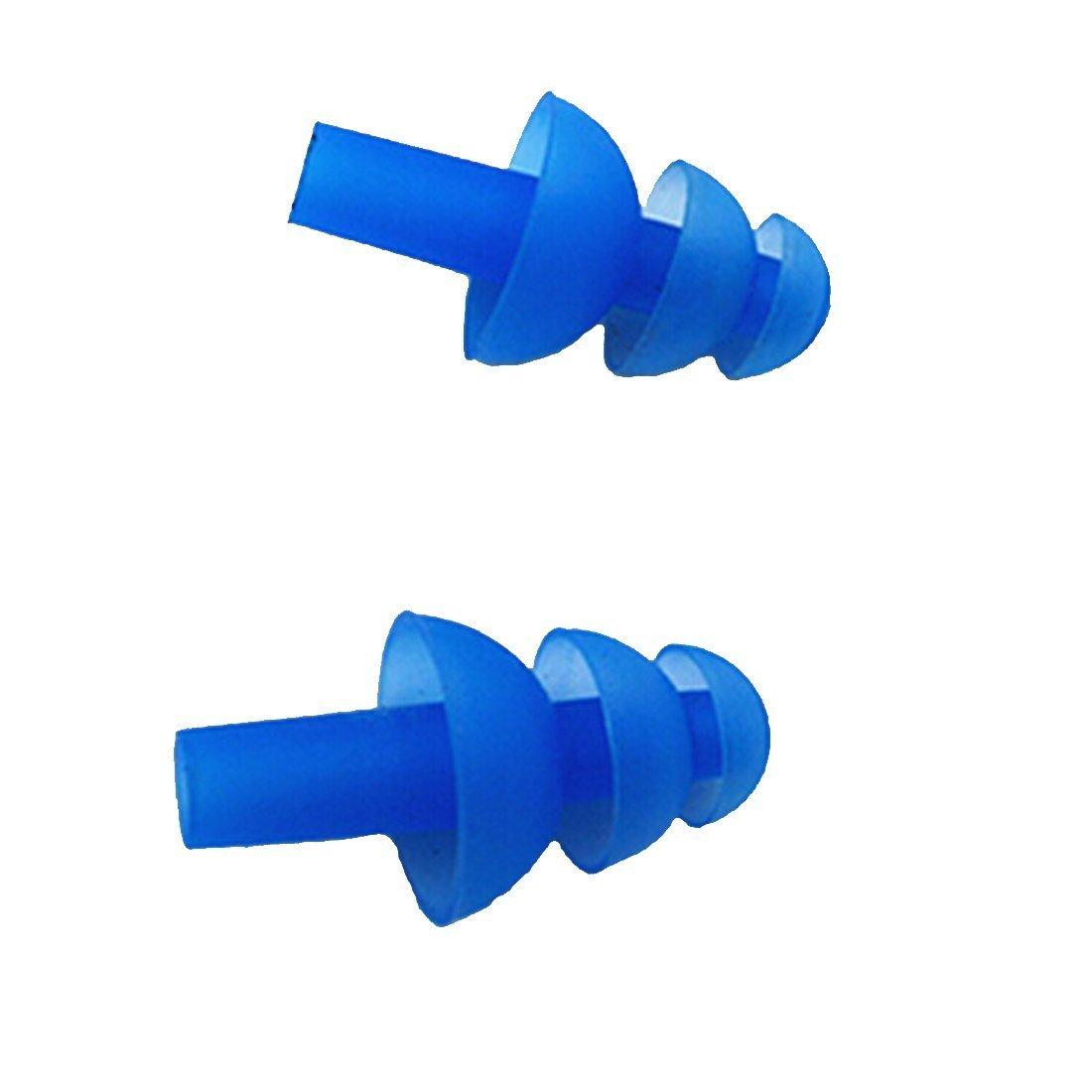 esowemsn Blue 6PAIRS Soft Silicone Earplus Swimmers Flexible Ear Plugs for Swimming Sleeping with Earplug Case