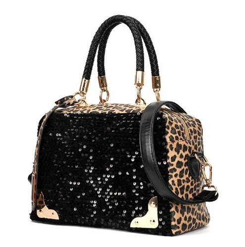 1 X Wisedeal Fashion Leopard Sequined Ladies Women Shoulder Messenger Bag Handbag Tote Purse