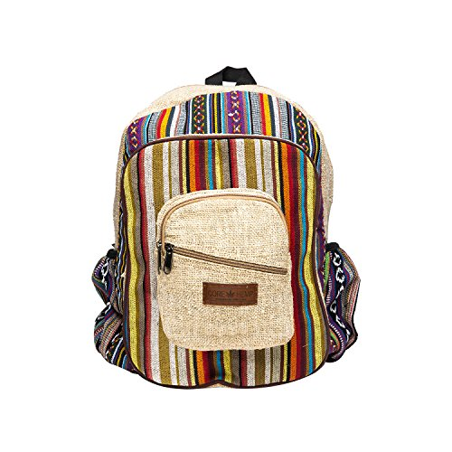 Core Hemp Backpack School Work Festivals Traveling Hiking Briefcase Boho Hippie Unisex (hemp2)