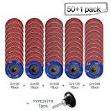 """50Pcs Roloc Quick Change Discs Set, 2 inch A/O Sanding Discs with 1/4"""" Holder, for Die Grinder Surface Prep Strip Grind Polish Finish Burr Rust Paint Removal,Surface Conditioning Discs"""
