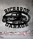 Hot Rod Garage - Personalized Sign - Metal Wall Art- 21 x 16 Customize It - Metal Wall Art Man Cave Father's Day Gift Grandpa's Dad's Or Custom Name