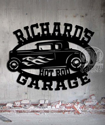 Hot Rod Garage - Personalized Sign - Metal Wall Art- 21 x 16 Customize It - Metal Wall Art Man Cave Father