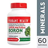 Vibrant Health - Super Natural Boron, Support for Healthy Joints, Hormone Levels, and Connective Tissue with Calcium Fructoborate and Broccoli Powder, Gluten Free, Vegetarian, Non-GMO, 60 Count (FFP)