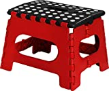 Utopia Home Kids Folding Step Stool – 11 Inches Wide and 9 Inches Tall – Black and Red Color – Light Weight Plastic Design – by