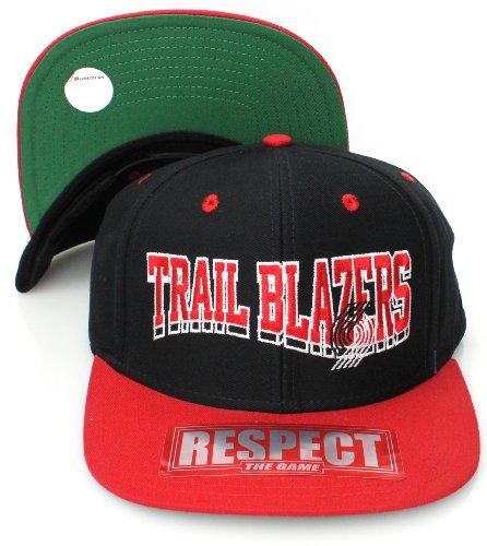 (Portland Trail Blazers Flat Visor Wave Block Style Snapback Hat Cap Black Red)