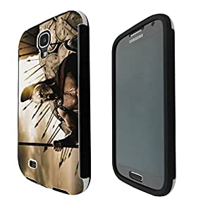1120 - cool spata roman fighters shield army Design Samsung Galaxy S4 i9500 Full Body CASE With Build in Screen Protector Rubber Defender Shockproof Heavy Duty Builders Protective Cover