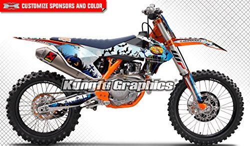 Kungfu Graphics Halloween Custom Decal Kit for 125 150 250 350 450 SX SXF SX-F XC XCF XC-F 2016 2017 2018 (2016 250sx 250xc 300xc is NOT included), White Blue