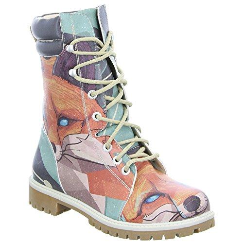 Dogo Red Fox Super Bootz Damen Stiefel Schnürer Fuchs Motiv All-Over-Print Mehrfarbig