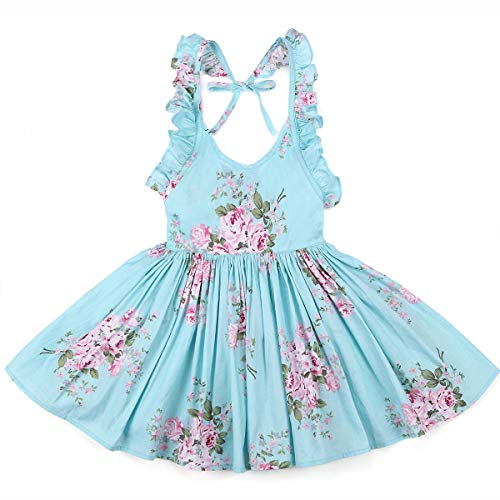 Flofallzique Vintage Floral Easter Girls Dress Backless Wedding Party Toddler Clothes(8, Blue) -
