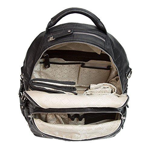 Joy negro piel mochila bolso cambiador