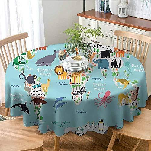 ONECUTE Round Tablecloth,for Home Party Coffee Bar,Kids Educational World Map Africa Camel America Lama Alligator Ocean Australia Koala Print 70