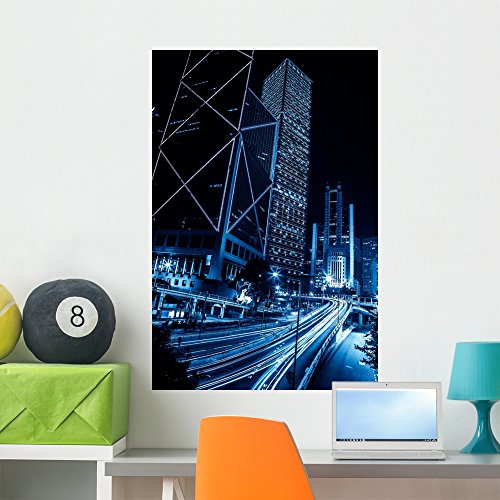 Hong Kong City Night Wall Mural by Wallmonkeys Peel and Stick Graphic (36 in H x 24 in W) - Hong Kong Finance Street