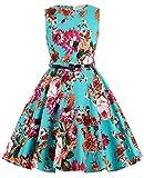 Girl's Knee-Length 50's Floral High Waist Summer School Party Dresses 7~8Yrs K250-1
