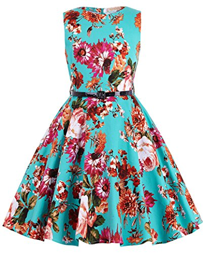 Girl's Knee-Length Florla Vintage Retro Cute Wedding Party Swing Dresses 6~7Yrs K250-1, Mint/Floral