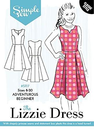Patrón de costura simple para mujer de la marca The Lizzie vestido sin mangas patinador aventurero
