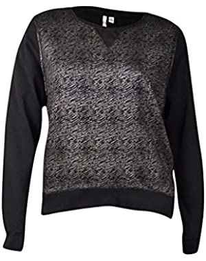 Calvin Klein Women's Metallic Slub Knit Sweater (XL, Black)