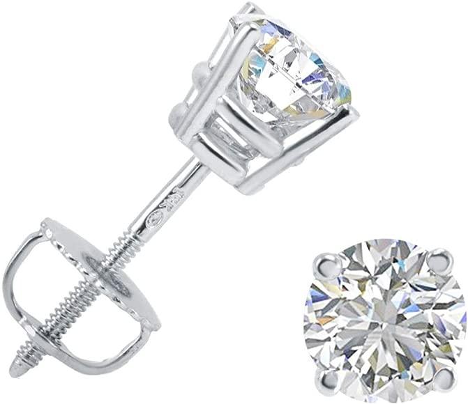 14K Yellow Gold Natural Genuine Diamond Leaves Style Stud Earrings