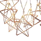 Lewondr String Lights Geometric Rose Gold Stars LED Metal Fairy Lights 3m/9.8ft 20 LED USB & Battery Powered Twinkle Lights for Bedroom Wedding Christmas Home Decoration - Warm White