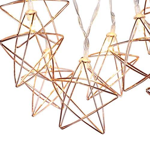 Lewondr String Lights Geometric Rose Gold Stars LED Metal...