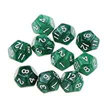 10pcs Twelve Sided Dice D12 Playing D&D RPG Party Games Dices Green