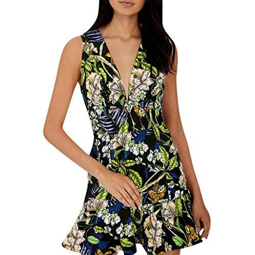 HYIRI Summer V Neck Boho Dress,Women's Printed Beach Party Mini Dress Green