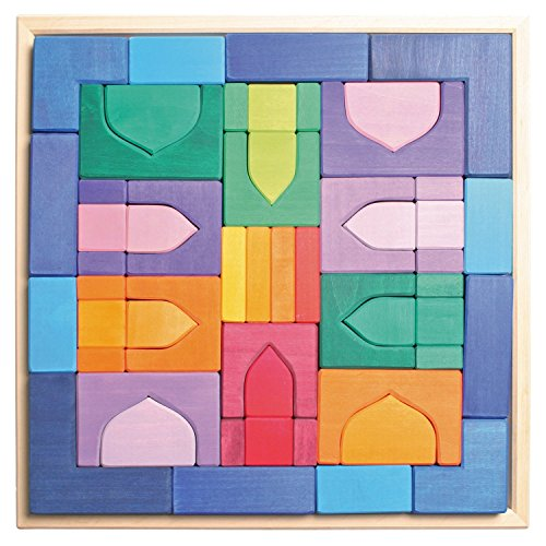 - Grimm's Large 1001 Nights Oriental Building Set - Handmade Wooden Blocks in 17-inch Storage Tray (4x4 Size)
