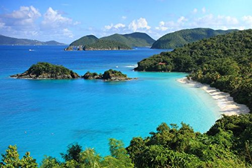 Imagekind Wall Art Print Entitled Scenic Overlook of Trunk Bay, St. John, USVI by Roupen Baker | 24 x 16 -