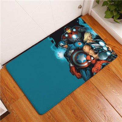 CHN 19x31 inch Blue Captain America Bathroom Mat, Red Iron Man Bathroom Rug Superhero Spider Man Characters Themed Bathroom Mat Superheroes Thor Grey Avengers Multi Colored, PVC