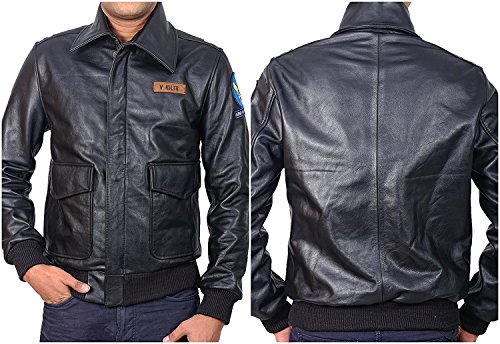 Air Force Bomber Leather Jacket - Captain V. Hilts The Great Escape Steve McQueen A2 Bomber Flying Leather Jacket Army Air Force (L, Great Escape Jacket)