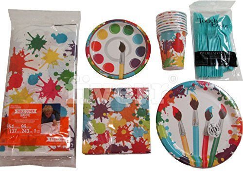 Creative Converting Art Party Bundle for 8 Guests: Dinner Plates, Dessert Plates, Luncheon Napkins, Cups, Silverware and Table Cover