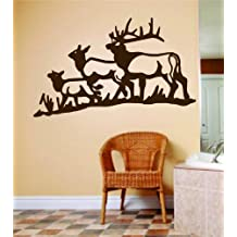 Three Deer Buck Moose Image Animal Hunting Hunter Man With Gun picture Art - Boys Kids Bed Room Sports Hobbies - Peel & Stick Sticker - Vinyl Wall Decal - DISCOUNTED SALE ITEM Size : 16 Inches X 32 Inches - 22 Colors Available