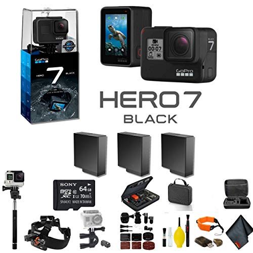 GoPro HERO7 Black Action Camera 2 Extra Battery, External Charger, 64GB Memory Card, Case, Chest Mount, Handle Bar Mount, Selfie Stick, Floating Strap More.- 3 Battery Bundle -