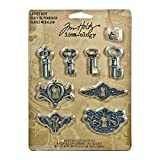 Metal Locket Keys with Fasteners by Tim Holtz Idea-ology, 4 Keys and 4 Keyholes per Pack, Various Sizes, Antique Finishes, TH92822