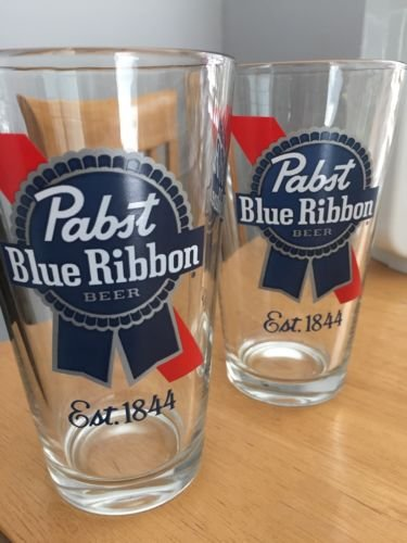 Pabst Blue Ribbon Beer Glasses Set of 4