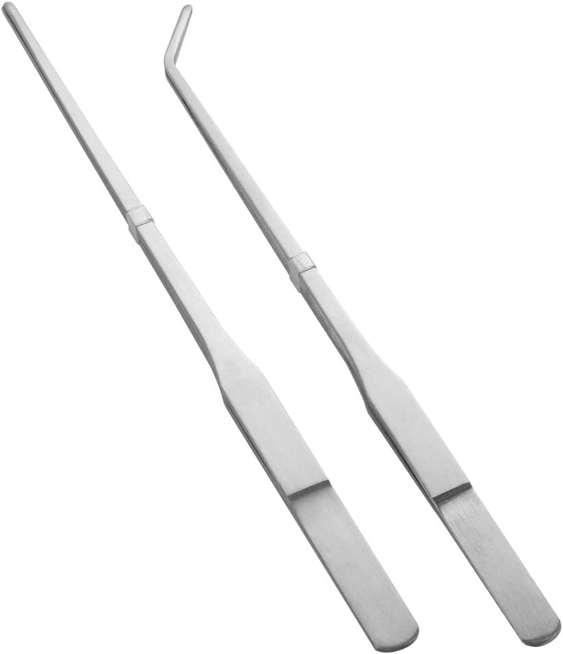 FinYii Stainless Steel Long Reptile Tweezers Feeding Tongs for Snake Lizards Bearded Dragon Leopard Gecko and Spider Terrarium Supplies 2Pcs