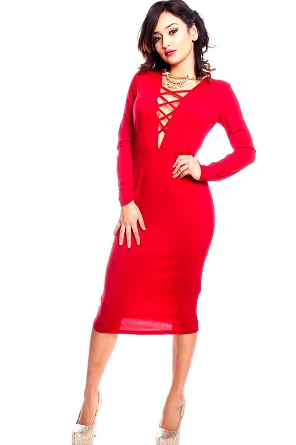 LOLLI COUTURE STRAPS LONG SLEEVE PLUNGE NECKLINE TIGHT FIT DRESS