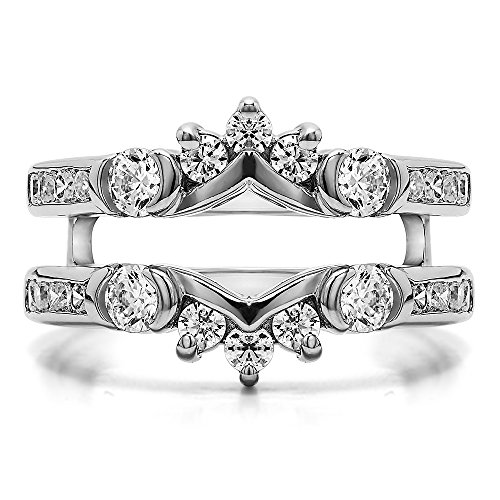 TwoBirch 1 ct. Cubic Zirconia Half Halo Classic Style Ring Guard in Sterling Silver (1 ct. twt.) by TwoBirch (Image #2)