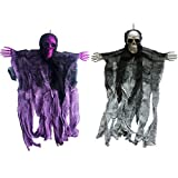 Glittered Big Skull Hanging Reaper for Halloween Horror Props - Hanging Scary Decorations for Crazy Cool Parties - 20 inch - Purple - Silver - (2 Pieces/Package) (1 Purple 1 Silver)