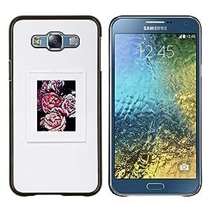 Gris Gris Begonia Poster Flor de Primavera- Metal de aluminio y de plástico duro Caja del teléfono - Negro - Samsung Galaxy E7 / SM-E700