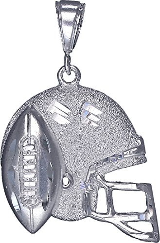 eJewelryPlus Sterling Silver Football Helmet Charm Pendant Necklace with Diamond Cut Finish (With 24