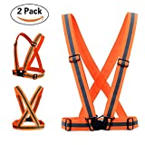 Rosa Schleife Reflective Vest Safety, Adjustable Cross Strap Belt Gear for Outdoor Activities Hiking Cycling High Visibility All Day and Night Emergency Identification Label - 2pcs Fluorescent Orange