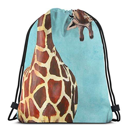 Chewing Giraffe 3D Print Drawstring Backpack Rucksack Shoulder Bags Gym Bag For Adult 16.9
