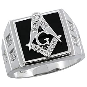 Mens Sterling Silver Black Onyx Masonic Ring CZ Stones & Square Accents, 19/32 inch wide, size 8