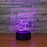 Cable Drum Coffee Table Cute Smart Touch Drum 3D Illusion Night Light with Smart Touch Switch 7 Colors Change Mood Lighting Desk Table Lamp with DIY Characters Beside Lights Lighting Effects Birthday